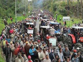 Campesinos in Nariño march during the August Agrarian strike.