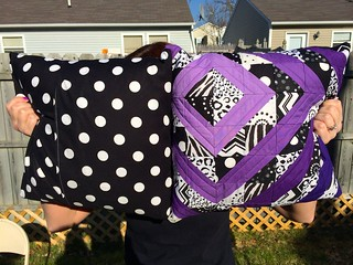 purple quilt pillows