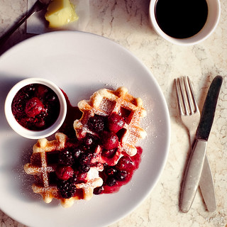 waffles with berry compote