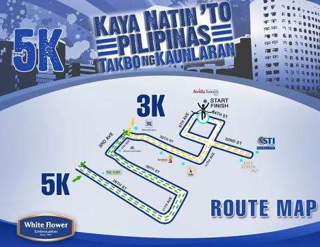 White Flower Run map 5k
