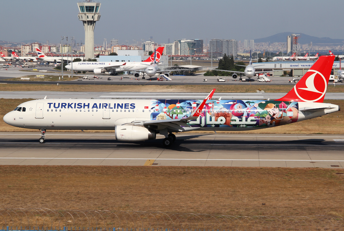 """Speeding up on RWY35L for departure to Berlin TXL. Delivered 06/2013. New """"Eid Mubarak"""" livery."""