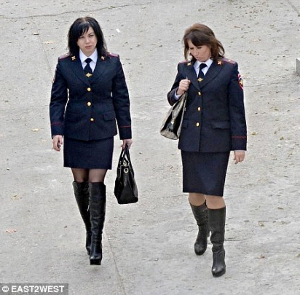 Russian Policewomen On Street Patrol Wearing High Heeled
