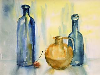 Glass Bottles. Spring Feeling
