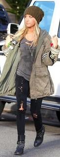 Ashley Tisdale Studded Biker Boots Celebrity Style Women's Fashion