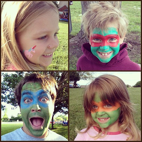 The face painting was awesome last night. Three ninja turtles and a unicorn #TMNT #ninjaturtles