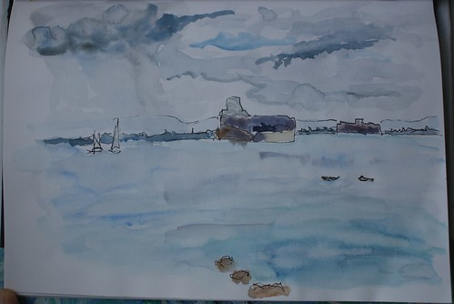 Watercolour sketch of view from Isle of Wight