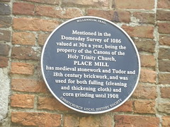 Photo of Place Mill blue plaque