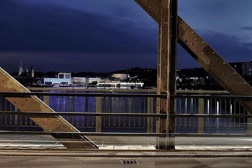 city blue sunset by night linz danube upperaustria