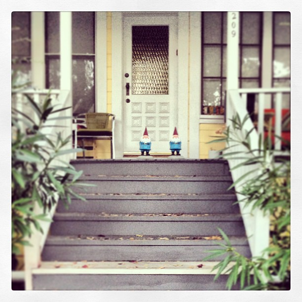 Neighborhood watch. #gnome #stairs #porch #door #rollingwithmygnomies