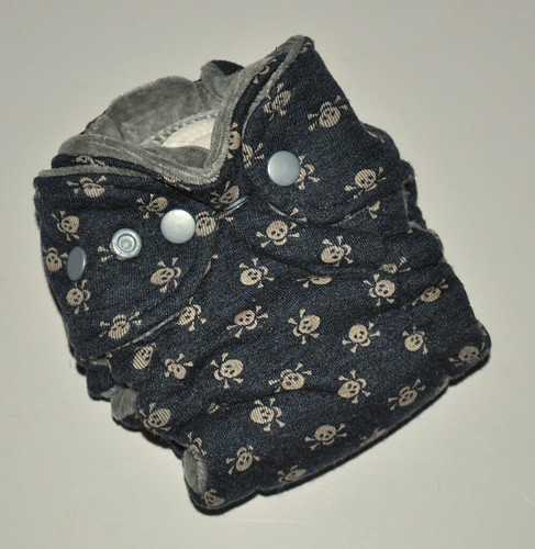Bumstoppers Newborn Grey Skulls Fitted **New Style**