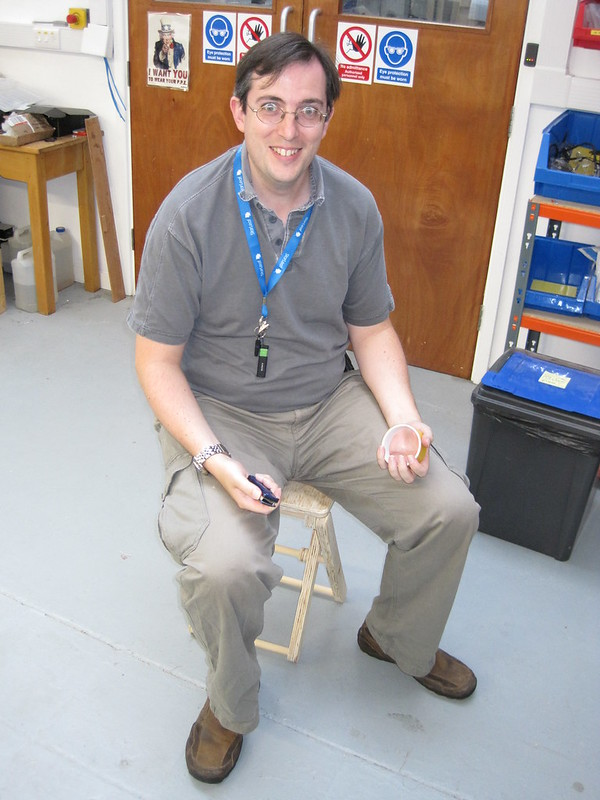 Paul testing the dry fit side X stool