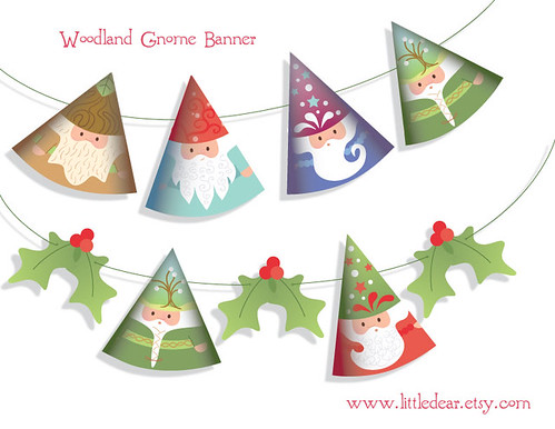 Printable DIY gnome garland at little dear
