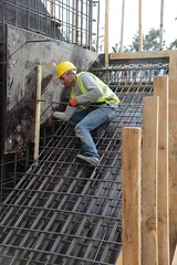 reinforced concrete, wall, construction worker, iron, construction,