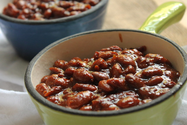 Maple Bourbon Baked Beans close-up