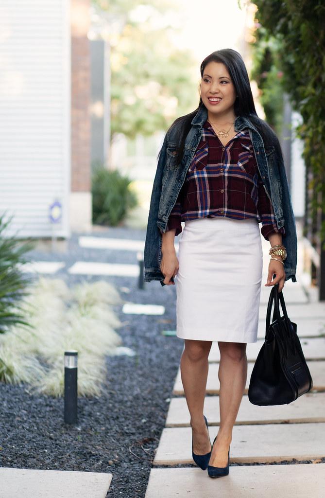 cute & little blog | tartan plaid shirt, white pencil skirt, loft petra blue suede pumps, american eagle denim jacket outfit #ootd