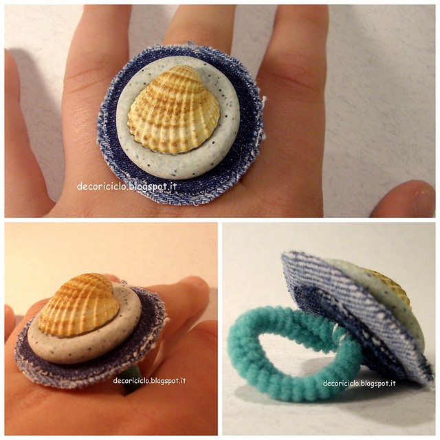Collage anello jeans e conchiglia