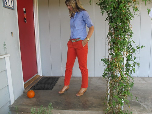 with orange pants