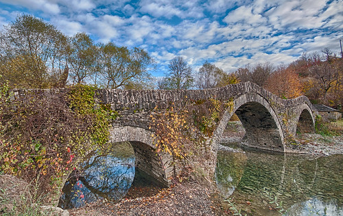 "old bridge flowers trees orange reflection green fall texture nature water rock architecture clouds forest photoshop river landscape rocks pentax greece k7 sigma1020 flickrawardgroup ""flickraward"" blinkagain hdrefexpro"