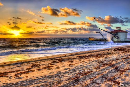 ocean beach sunrise waves jetty inlet sunrays pumphouse hdr boyntonbeach crashingwaves photomatix topazplugins
