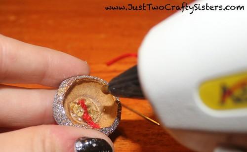 Christmas glitter acorns