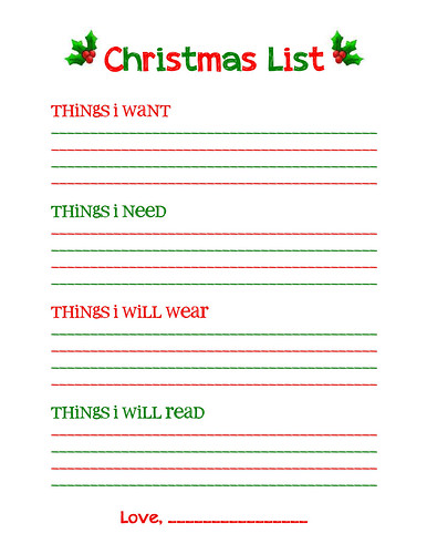 Christmas List  Christmas Wish List Printable