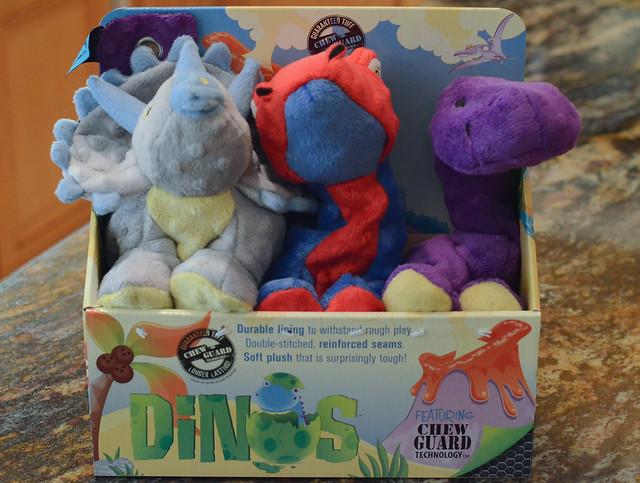 A box of stuffed animal chew toys.