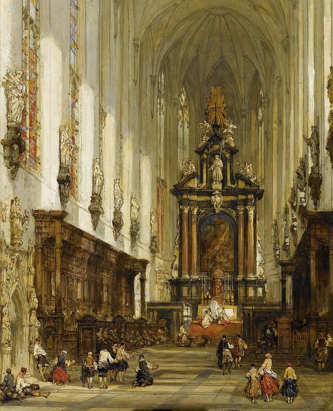 David Roberts - Interior of St Paul's Antwerp (c.1859)