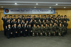 "Rear Adm. Lisa Franchetti, third row center, joins female ROTC cadets in expressing the Korean phrase ""Katchi Kapshida!"" (which translates as ""We Go Together"") during her visit to Sookmyung University, Jan. 8. (U.S. Navy Photo by Chief Mass Communication Specialist Wendy Wyman)"