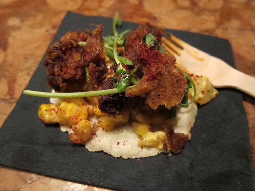 Corn flake chicken thigh - Doenjang buttered corn, potato salad, crispy chicken skin