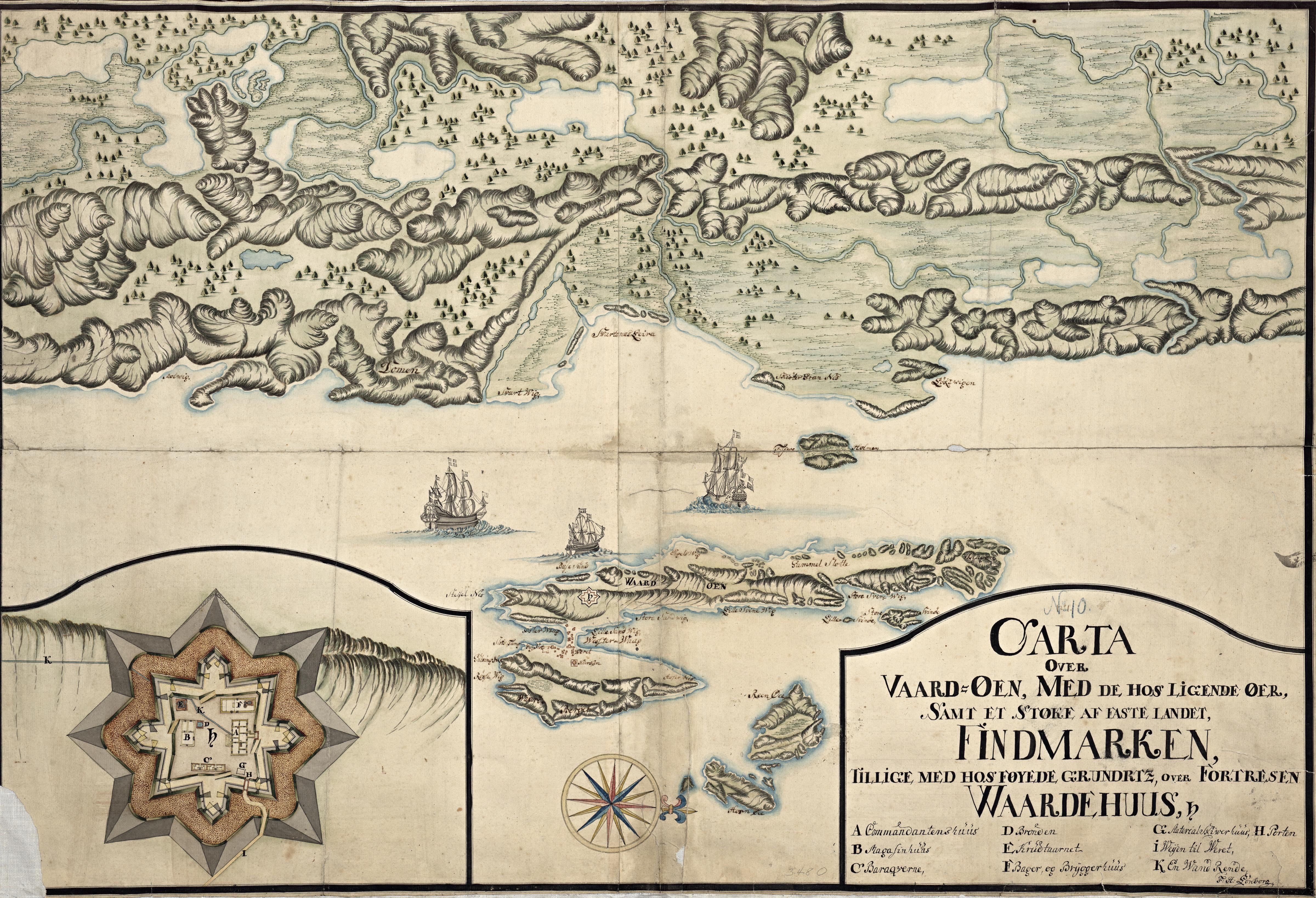 Håndtegnet kart over Vardø