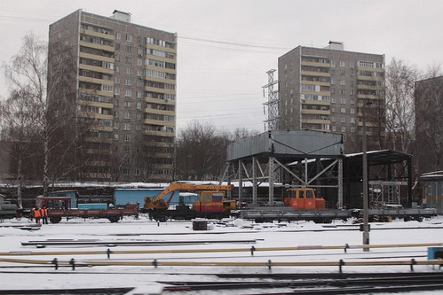 Track machines parked at the Moscow Metro depot at Фили (Fili)