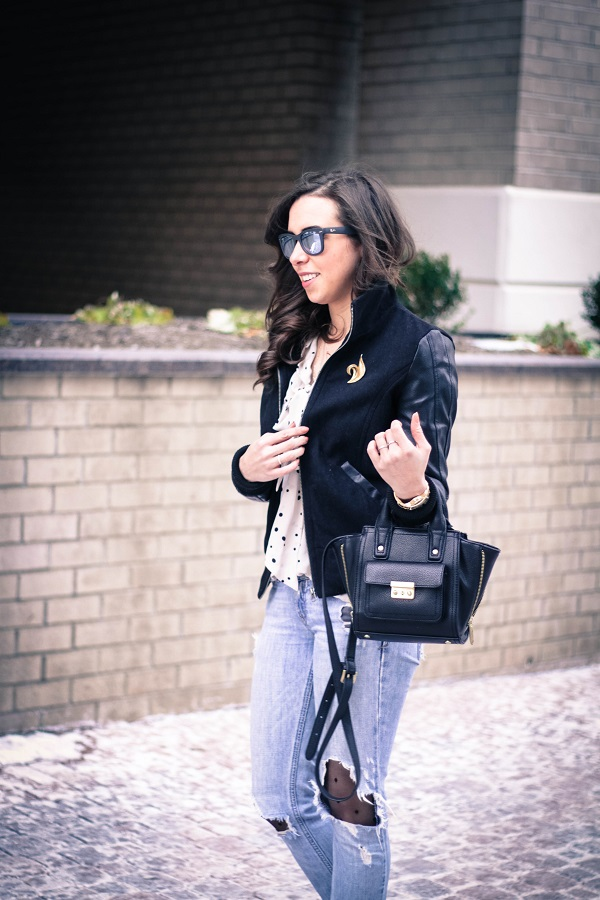 va darling. dc fashion blogger. virginia fashion blogger. faux leather sleeve bomber jacket. destroyed denim. polka dot tights. reflective ray-ban sunglasses. cold casual outfit. 3