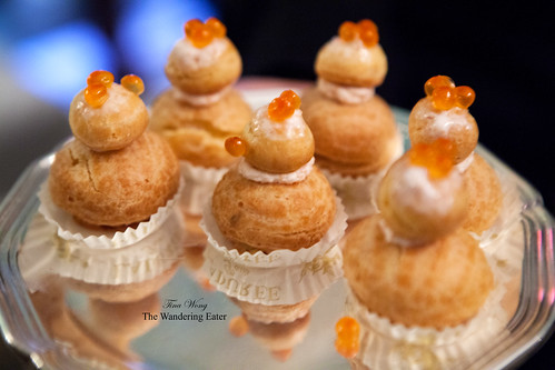 Salmon roe filled with salmon cream cheese religieuses