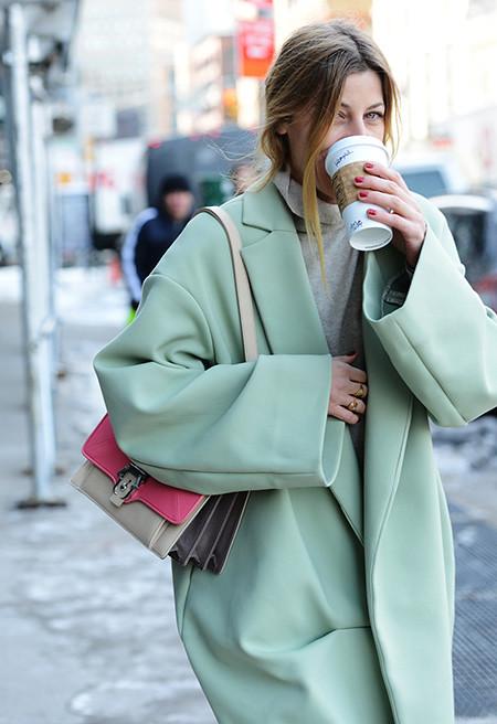 NYFW, street style, cacoon coat