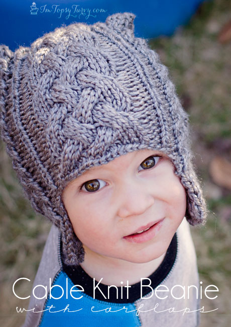 Knitting Pattern For Childs Beanie Hat : Cable Knit Beanie pattern with earflaps- child Ashlee Marie