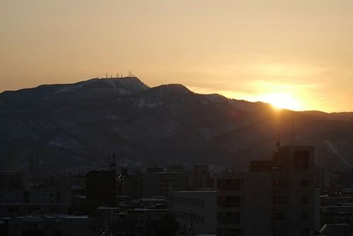 手稲山に沈む夕日