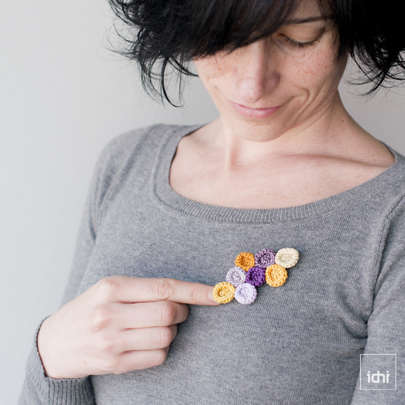 crochet brooch circles purple and yellow 1