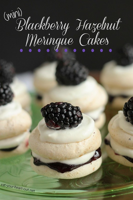 13682259073 e4a602b43b c Mini Blackberry Hazelnut Meringue Cakes