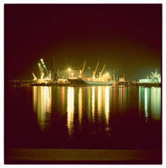 Hamburg port by night
