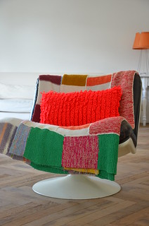 wood & wool striped pillow