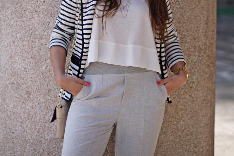 rayas, pantalón gris zara