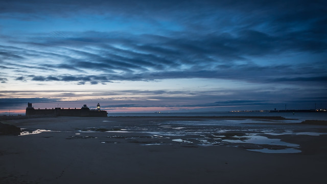 Fort Perch Rock after sunset