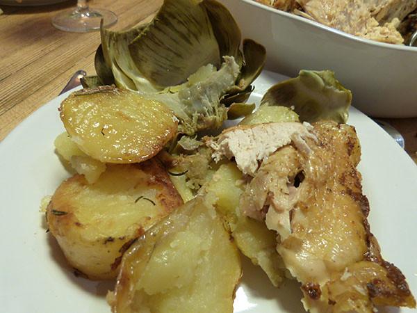 assiette poulet artichauts pommes de terre