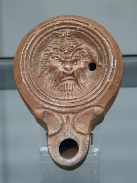 Clay oil lamp depicting Pan (Faunus) the god of shepherds and flocks, 1st-2nd century AD, Staatliche Antikensammlungen, Munich