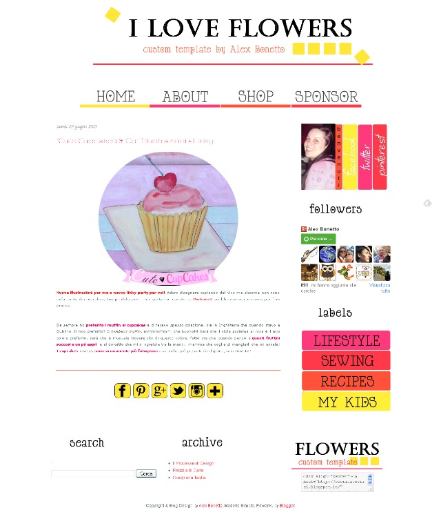 I Love Flowers template, pre-made blogger template
