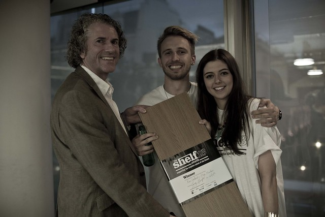 The Shelf Awards 2013 Winners Ran Stallard and Max Maclean receive The Shelf from founder Gary Sharpen
