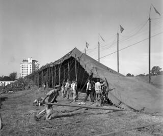 Raising the big tent for the final show of the season: Sarasota, Florida