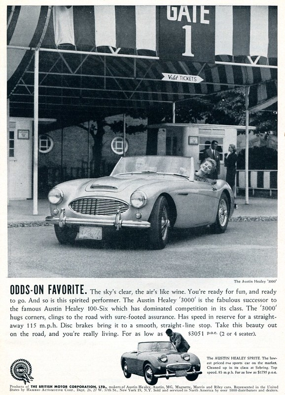 1960 Austin Healey 3000 and Sprite Advertising Sports Car Illustrated December 1960