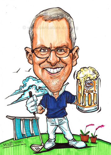 golfer caricature for Exxonmobil
