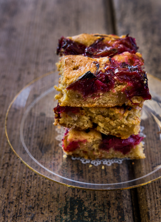 Rhubarb & Ginger Blondies
